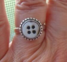 Sterling Silver Ring with Vintage White Mother of Pearl Button Size 7.5