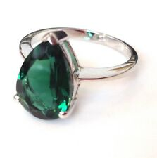 Green Tourmaline Colour Siberian Quartz Ring UK Size N 1/2 solid Sterling Silver