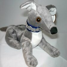 Greyhound Blingy Beanie Baby - Gray (Blue) White Belly w Martingale Collar NWT