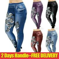 Womens Ladies Stretchy Denim Look Skinny Jeggings Leggings Pants Plus Size 18-24