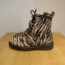 Dr Martens 1460 Womens Zebra Print Hair On Black White Ankle Boots Size Uk 6