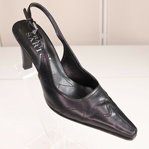 Franco Sarto Black Leather Slingback Pumps Shoes Size 5.5 Womens Heels Euc