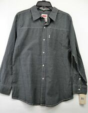 Levis Youth Ages 12-13 Grey/Black Stripe Button Down Long Sleeve Shirt NEW (H1)