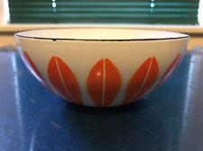 "Vintage  Cathrine Holm Orange & White Lotus Enamelware Bowl 5 1/2"""