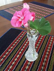 Antique Victorian Sterling Silver And Crystal Bud Vase stamped WD anchor Z lion
