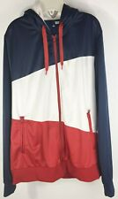 H M Divided Jacket Lined XL Red White Blue Hooded Lined Patriotic