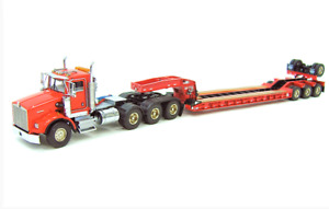 "KENWORTH WSI 34-2024 KENWORTH T800 8X4 w/Rogers Lowboy Trailer ""RED"" 1:50 ""NEW"""