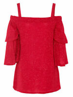 Quiz RED Glitter Cold Shoulder Evening Top - Size 8 to 18