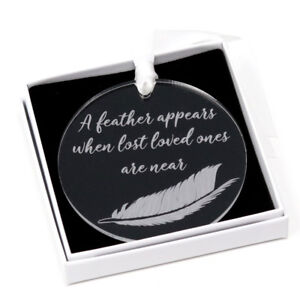 A Feather appears memorial remembrance bauble christmas  tree decoration