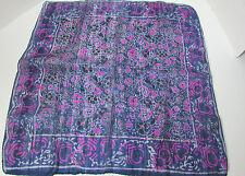 Women's Vintage Silk Navy Blue W/ Pink Flowers Square Scarf 20 x 20