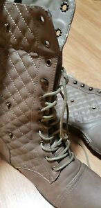 BRAND:FOREVER, STYLE COMBAT BOOTS, SIZE:9, COLOR: TAUPE