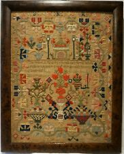 More details for mid 19th century folly building, motif & verse sampler initialled a.j - c.1845