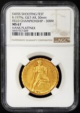 Swiss Shooting Fest Medal, R-1979a, Gilt-AR, 30 mm, graded MS 67 by NGC!