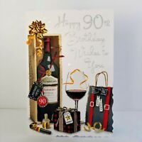 Jonny Javelin Male Age 90 Happy 90th Birthday Wishes Card Red Wine/V580