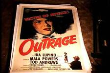 OUTRAGE ORIG MOVIE POSTER 1950 LINEN IDA LUPINO