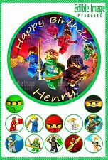 Lego Ninjago 19cm PERSONALISED Cake Image topper PLUS 12 cupcake toppers