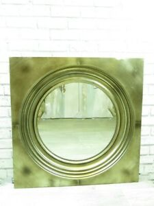 Mirror Large Square Metal Porthole style Wall Mirror Antiqued theme Champagne