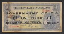 FIJI P-45c (1942) 1 Pound. Black Overprint on N.Z. Lefeaux Pound. Red Serials F+