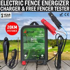 NEW 20km Electric Fence Energizer Energiser 12V Charger & Fence Voltage Tester