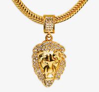 Cabeza de León Collar Cadena Hombre 18K Chapado en Oro Colgante Hip Hop Pedrería
