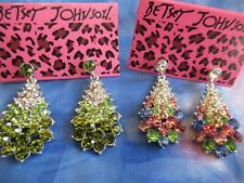 BETSEY JOHNSON CHRISTMAS TREE EARRINGS GREEN  OR MULTI-COLOR RHINESTONE