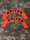 Pair Of 1st Responder/ EMS/ Fire Helmet Crescent Decal: Driver Orange / Red