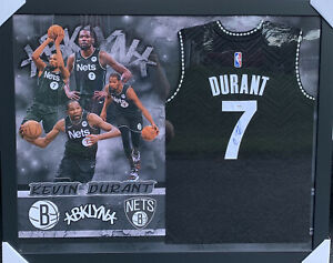 Kevin Durant Signed Jersey Framed PSA/DNA COA Brooklyn Nets RARE Adult L