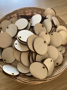 X25 Wooden 3.5cm Circle shapes Blank Round Craft Tag Keyring Disc