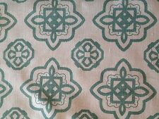 CONTEMPORARY MEDALLION AQUA/ WHITE GEOMETRIC  LINEN PRINT UPHOLSTERY  FABRIC