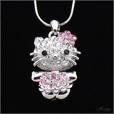 Hello Kitty Pendant Necklace Rhinestone Crystal Clear Pink Silver T 3D New 627