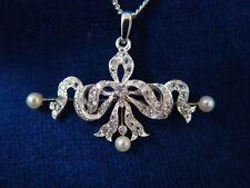 Antiker ANHÄNGER c1900, 46 Altschliff DIAMANTEN, Perlen * Historismus PENDANT *
