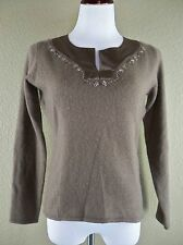 Kenar Lambs Wool Angora Sweater Size Small S Brown