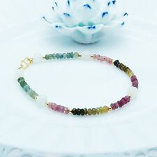 Watermelon Tourmaline faceted w Moonstone Bracelet Tiny Design 925 Silver