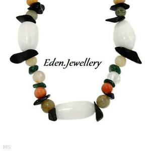 Beautiful Necklace with Genuine Precious Stones Agate & Base Metal Gift Box