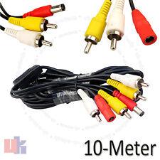 Cctv 10 metros Rca audio video AV de alimentación Cable de cámara DVR sistema uked