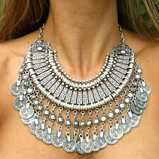 Heavy Antiqued Fashion Silver Coins Statement Bib Chunky Choker Necklace Jewelry