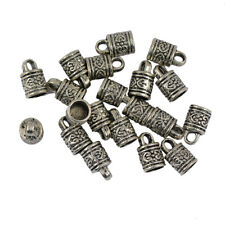20 Tibet Silver Carved Column Bead End Caps Jewelry Findings Beading 16x10mm