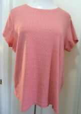 Women's Pink & Red Print Tee T Shirt Top with Stretch Size 1X - St. John's Bay