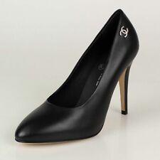 NIB CHANEL Black Lambskin Leather Cap Toe Heels Pumps Shoes Size 9.5/40.5