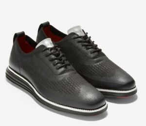 "Cole Haan ØriginalGrand Wingtip Oxford ""Black Knit Stitchlite"" Sz 10.5 Brand New"