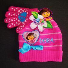 DORA the EXPLORER NICKELODEON Girls Winter Beanie Hat & Gloves Sets w/Bows  $20