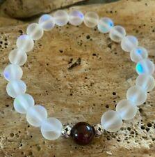 Iridescent Moonstone Mermaid Bracelet Garnet .925 Silver Beads Jan Birthday