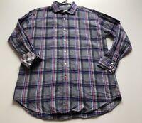 Thomas Dean Men's Extra Large Multicolor Plaid Button Down Dress Shirt Flip Cuff