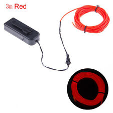 Flexible Neon LED Light EL Wire Strip Tube for Car Dance Party +Controller