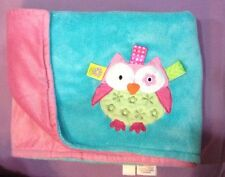 Taggies turquoise/pink owl Plush Baby blanket Lovey EUC