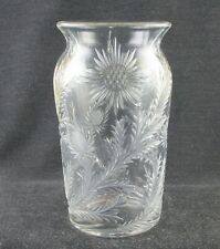 DUNCAN MILLER 1910S EAPG SUNFLOWER PATCH CLEAR GLASS VASE 5 INCH BLOWN