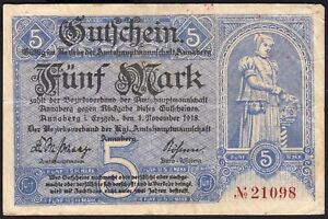 1918 5 Mark Germany Annaberg Emergency WWI Money Banknote Currency Rare VF