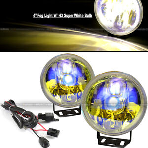 """For XL7 4"""" Round Ion Yellow Bumper Driving Fog Light Lamp Kit Complete Set"""