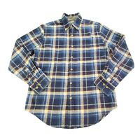 Eddie Bauer Men's Relaxed Fit Blue Plaid Button Down Long Sleeve Flannel Shirt