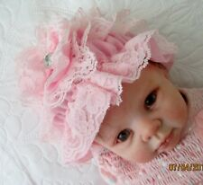 Cute Frilled Cap To Fit 0-3 Month Old Baby Or Reborn Doll